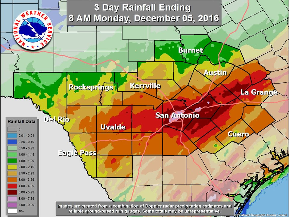 Rainfall totals from Friday through the weekend